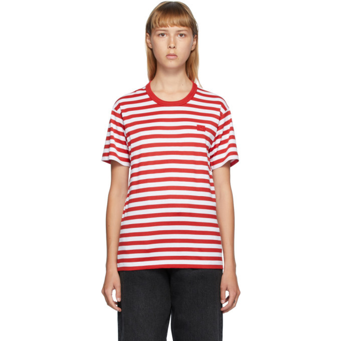Photo: Acne Studios Red and White Classic Fit Striped T-Shirt