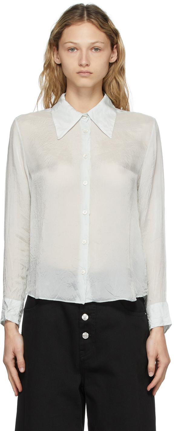 Photo: Acne Studios Blue Cupro Crinkled Shirt
