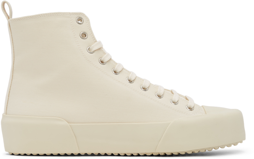 Photo: Jil Sander Off-White Canvas High-Top Sneakers
