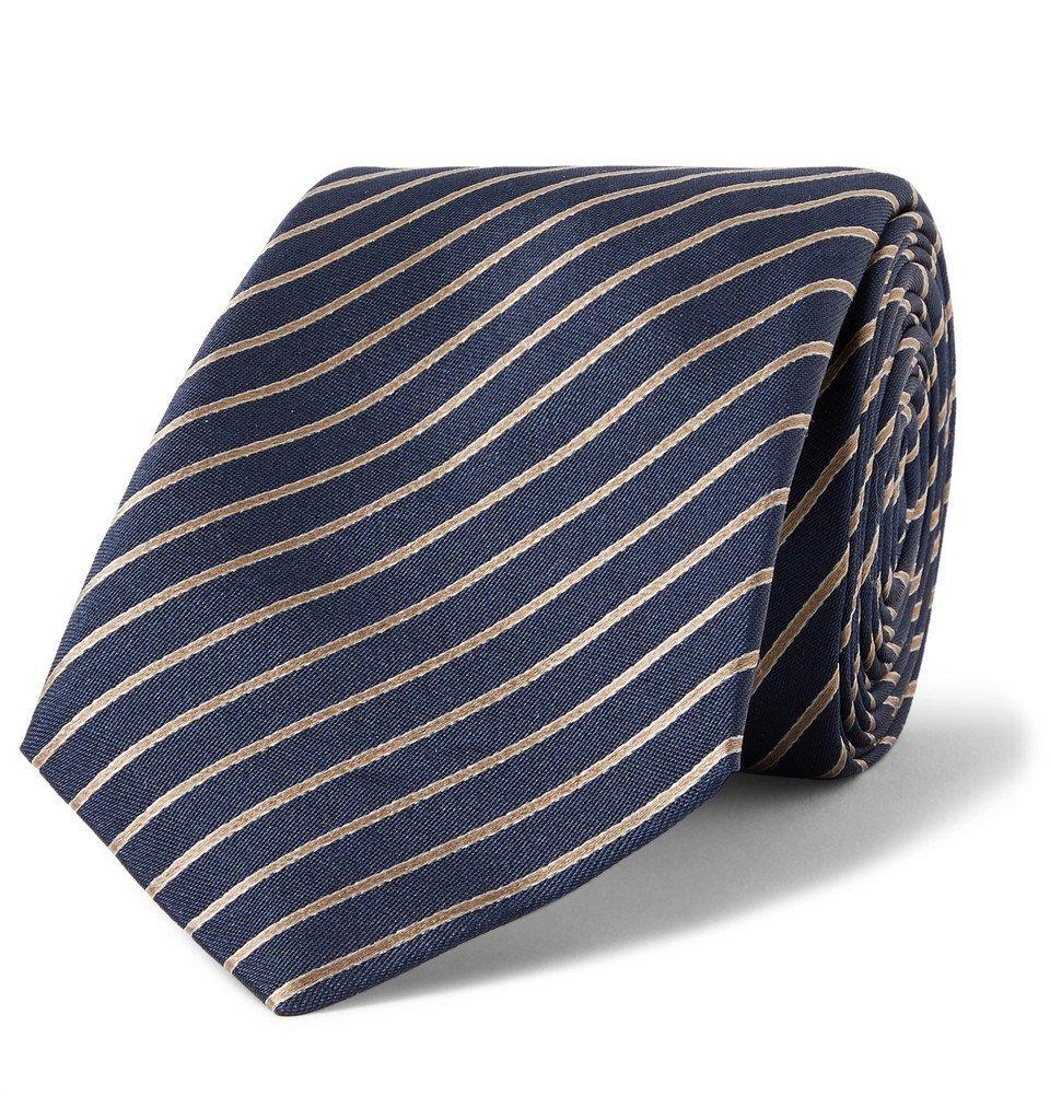 Giorgio Armani - 7cm Striped Silk-Jacquard Tie - Navy
