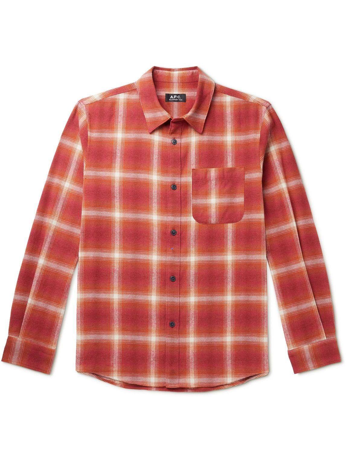 Photo: A.P.C. - Trek Checked Flannel Shirt - Red