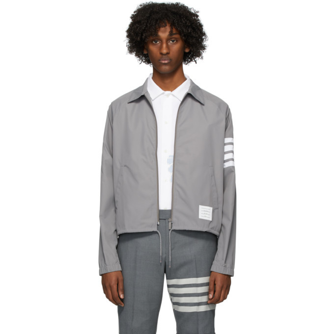 Photo: Thom Browne Grey Flyweight Windbreaker Jacket