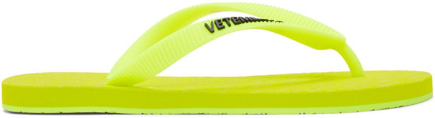 Photo: VETEMENTS Yellow Logo Flip Flops
