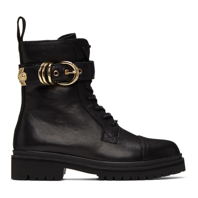 Photo: Versace Jeans Couture Black Belted Lace-Up Ankle Boots