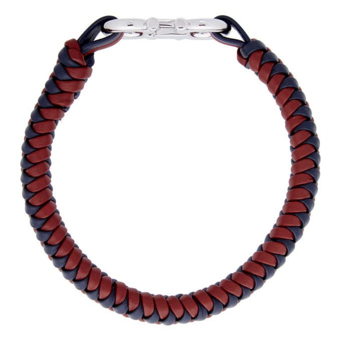 Salvatore Ferragamo Red and Blue Braided Leather Bracelet