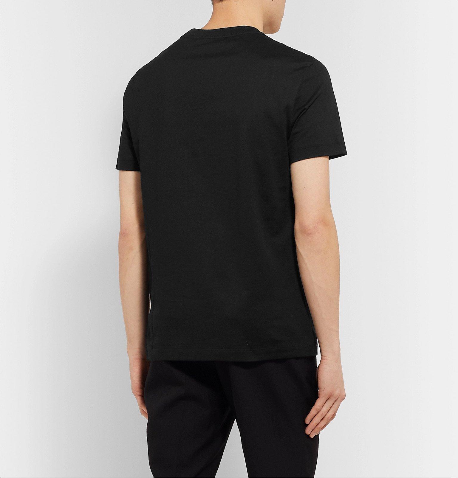 Versace - Slim-Fit Logo-Flocked Cotton-Jersey T-Shirt - Black