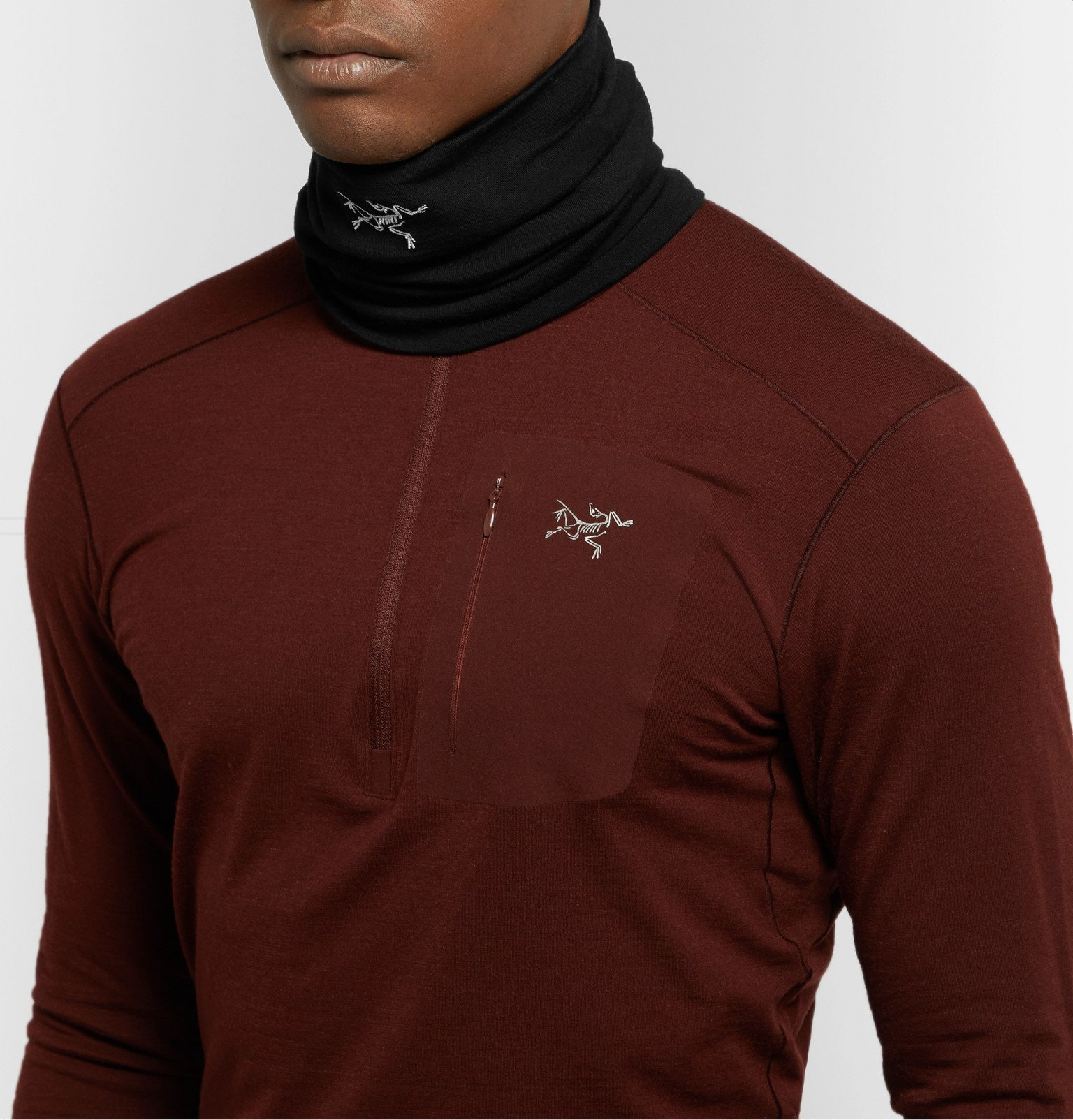 Arc'teryx - Rho Logo-Embroidered Stretch-Wool Neck Gaiter - Black