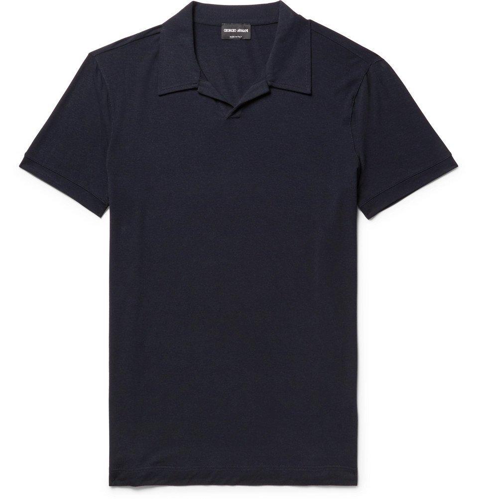 Giorgio Armani - Slim-Fit Camp Collar Stretch-Jersey Polo Shirt - Men - Midnight blue