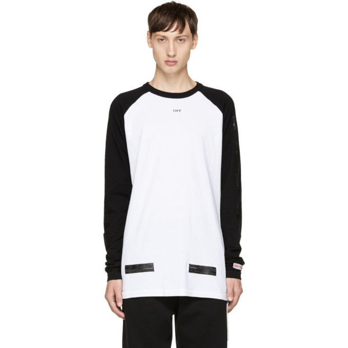 Photo: Off-White Black and White Brushed Diagonal Raglan T-Shirt