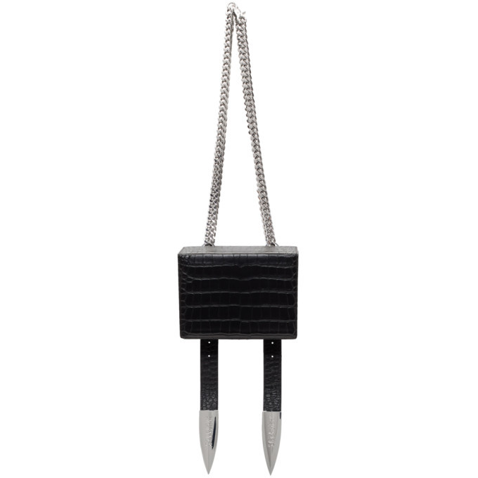 Photo: Sankuanz Black Croc Leather Shoulder Bag