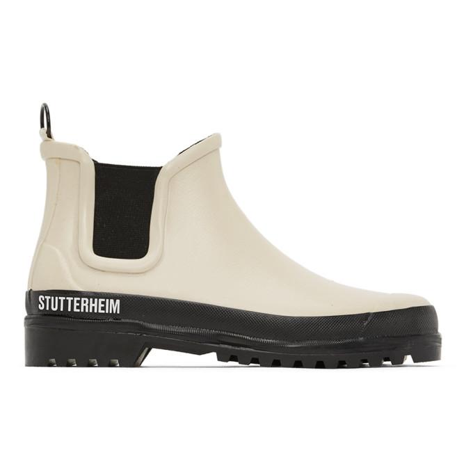 Photo: Stutterheim Beige Rainwalker Chelsea Boots