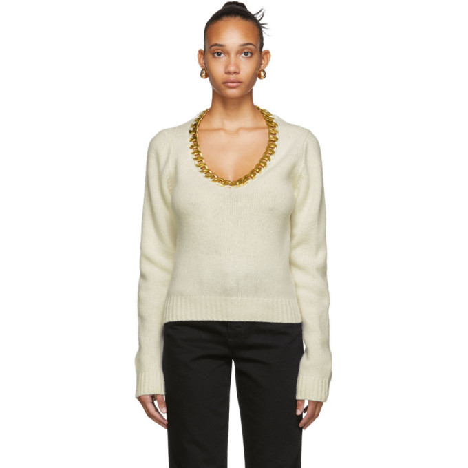 Photo: Bottega Veneta Off-White and Gold Chain Sweater