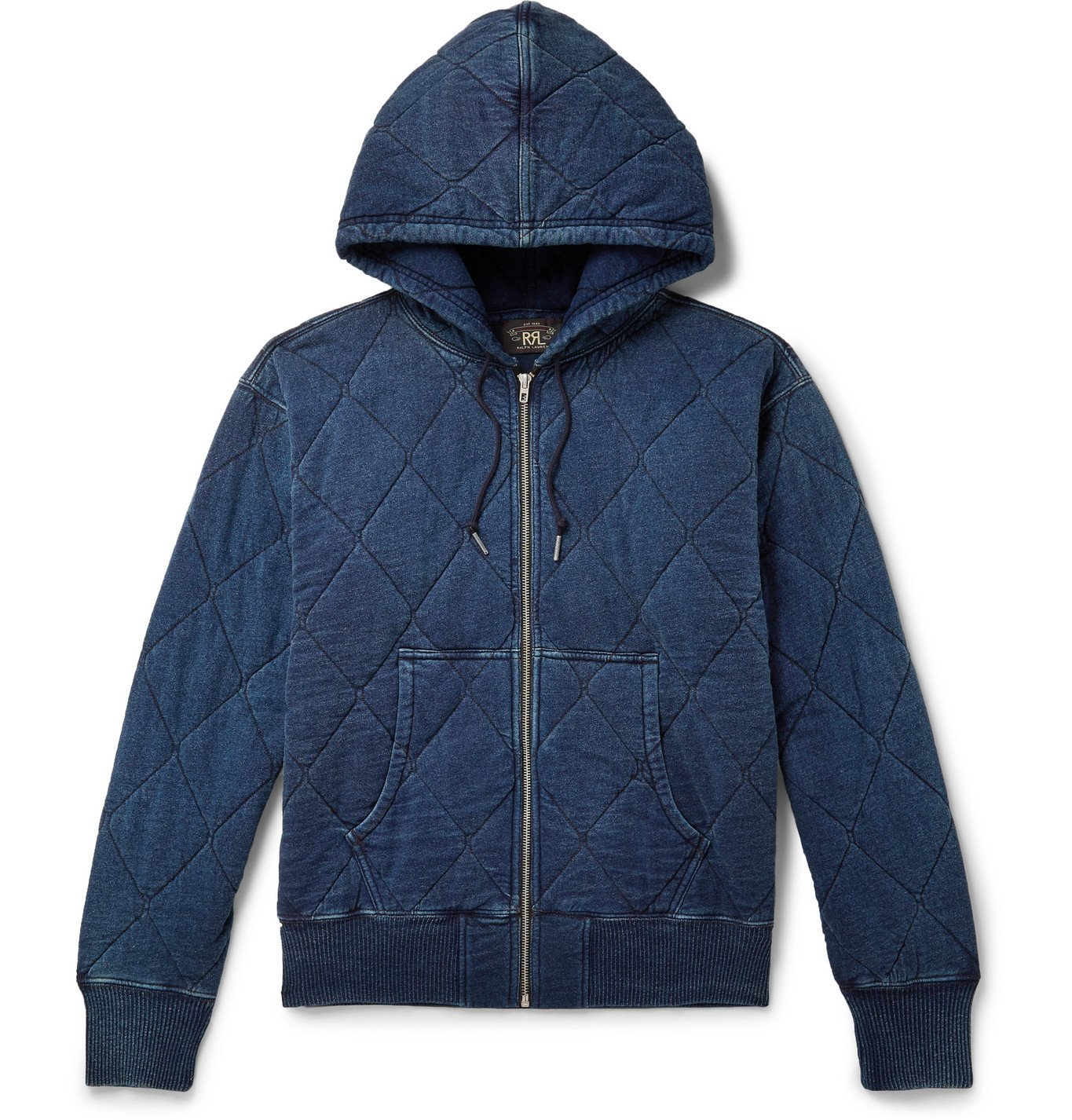 RRL - Quilted Cotton-Jersey Zip-Up Hoodie - Blue