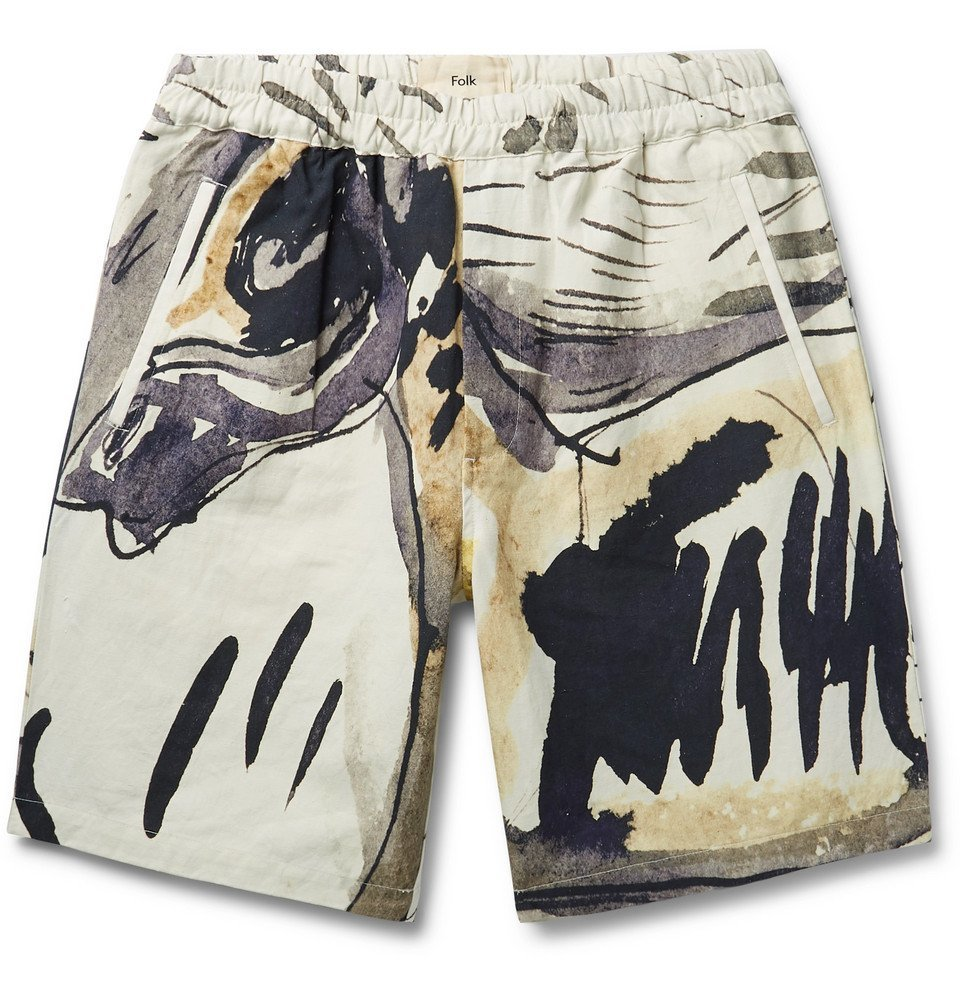 Photo: Folk - Goss Brothers Orpheus Printed Linen and Cotton-Blend Shorts - Neutral