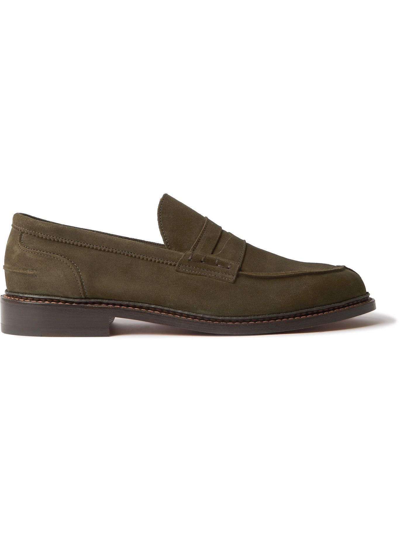 Photo: Tricker's - Adam Suede Penny Loafers - Green