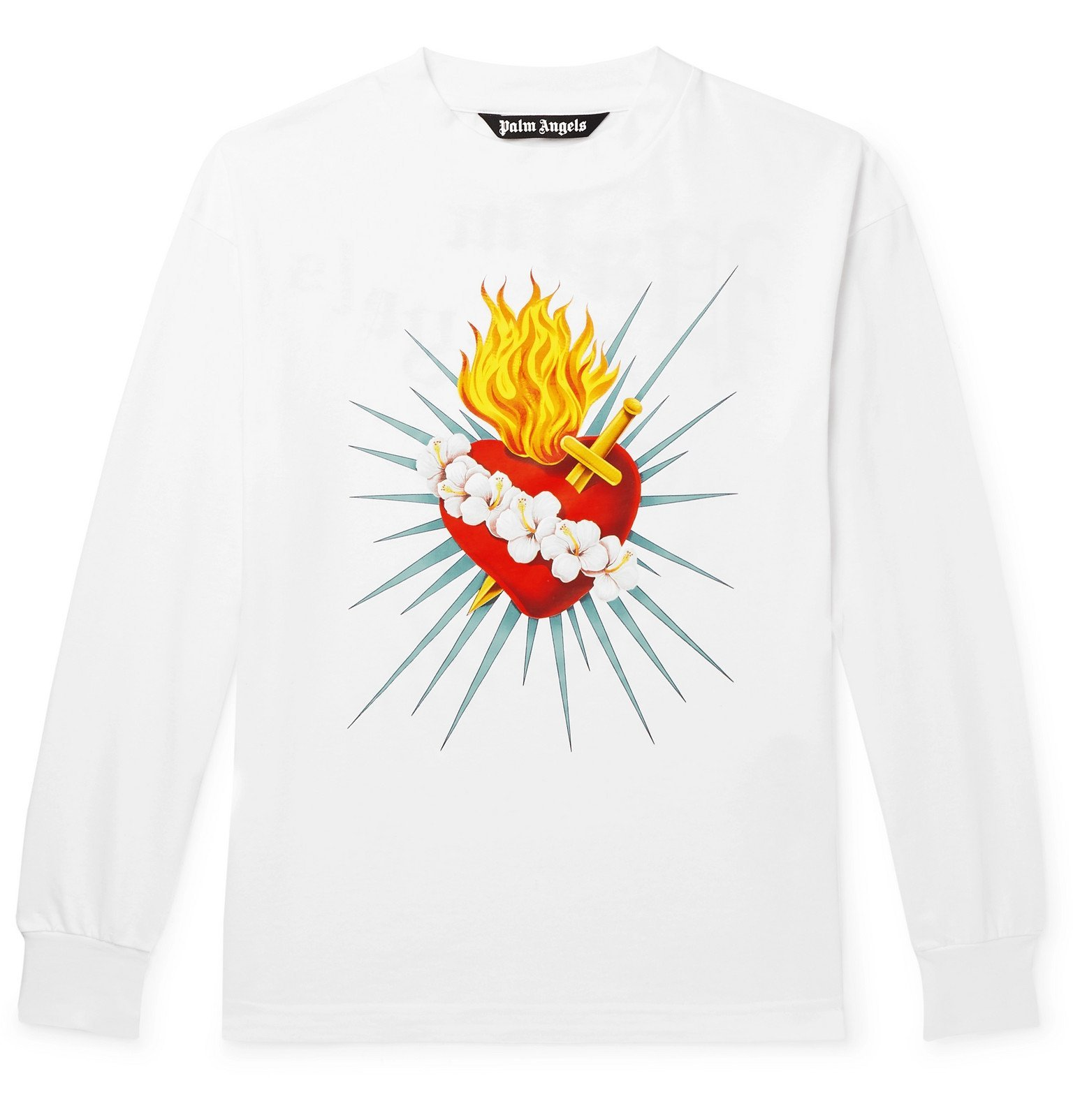 Photo: Palm Angels - Printed Cotton-Jersey T-Shirt - White