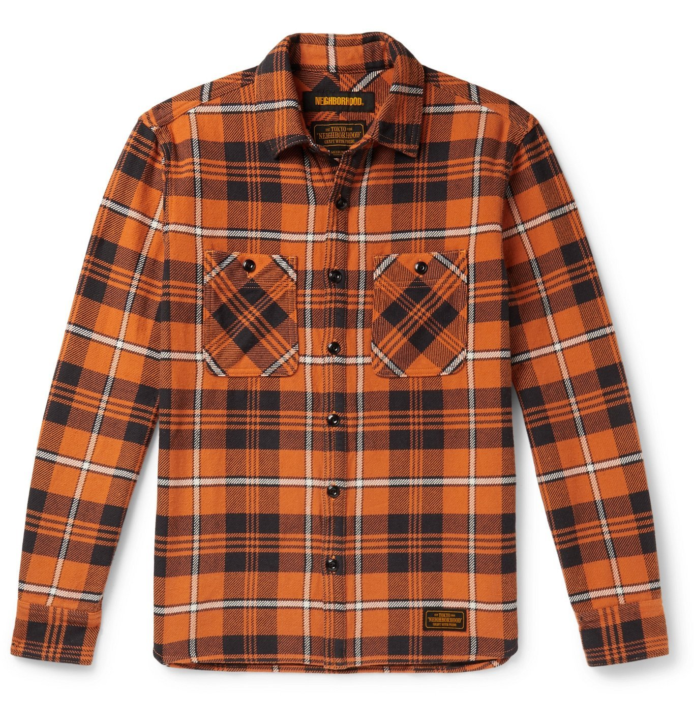 Photo: Neighborhood - Checked Cotton-Flannel Shirt - Orange