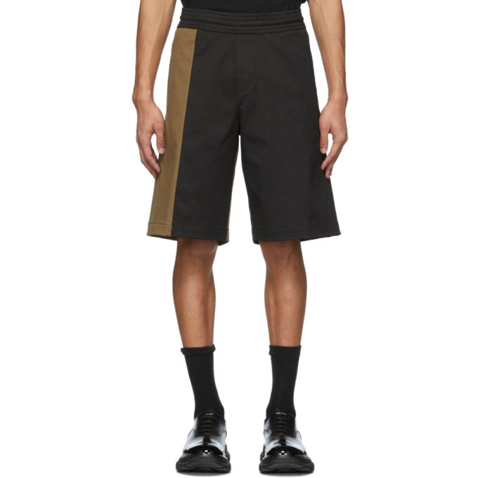 Photo: Neil Barrett Black and Tan Oversize Workwear Shorts