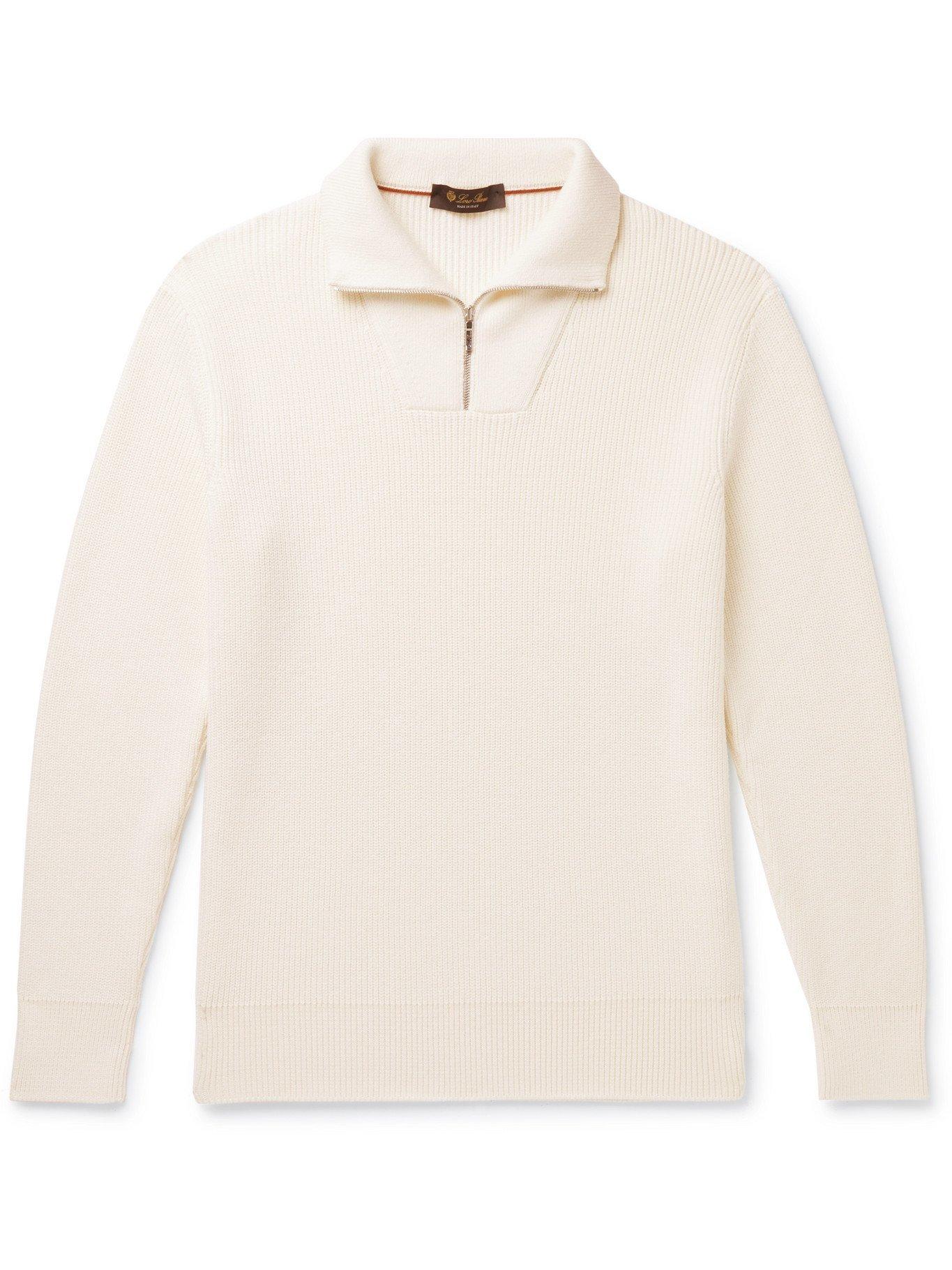 Photo: LORO PIANA - Ribbed Cotton and Silk-Blend Half-Zip Sweater - White - IT 48