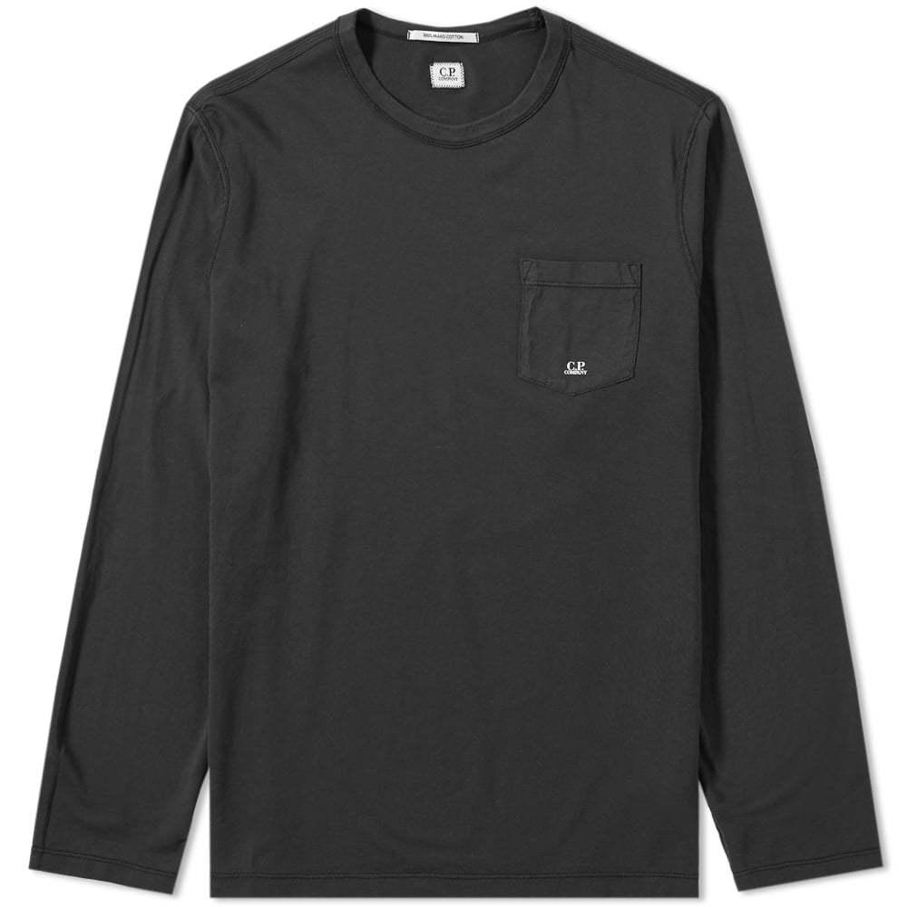 C.P. Company Long Sleeve Pocket Logo Tee Black