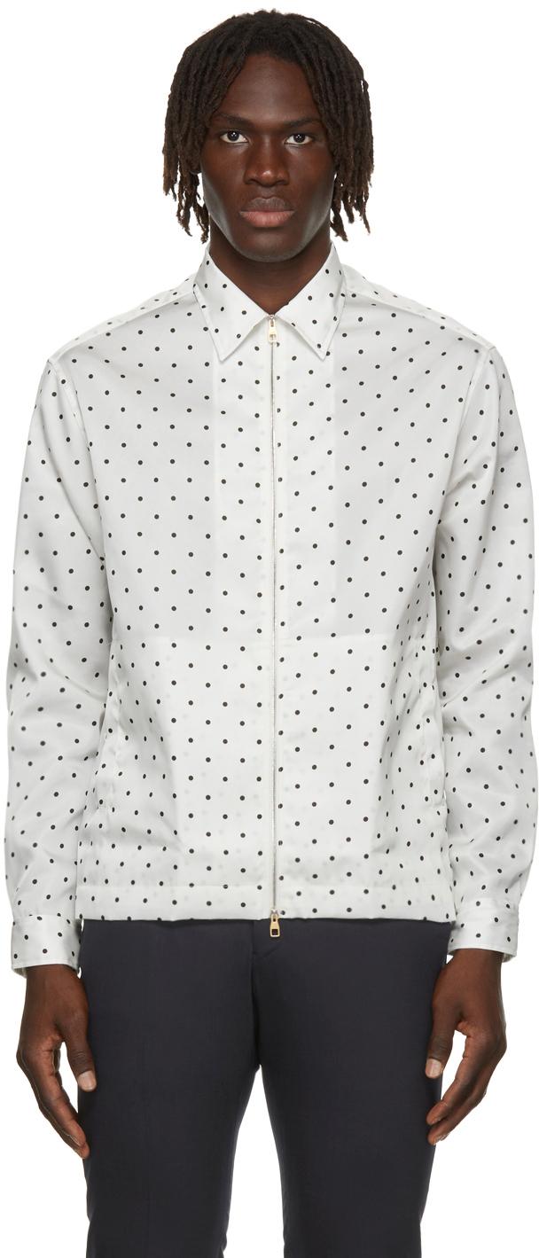 Photo: Dunhill White Polka Dot Zip Shirt