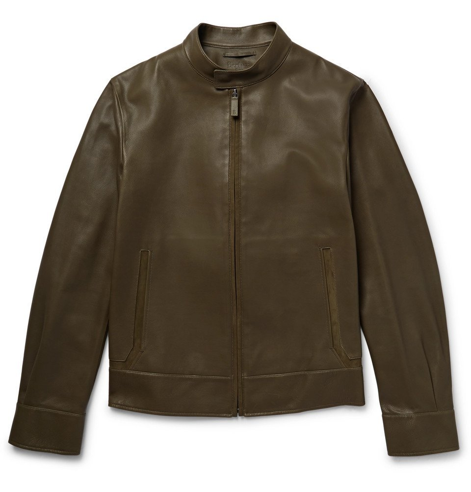 Photo: Berluti - Suede-Trimmed Leather Biker Jacket - Men - Army green