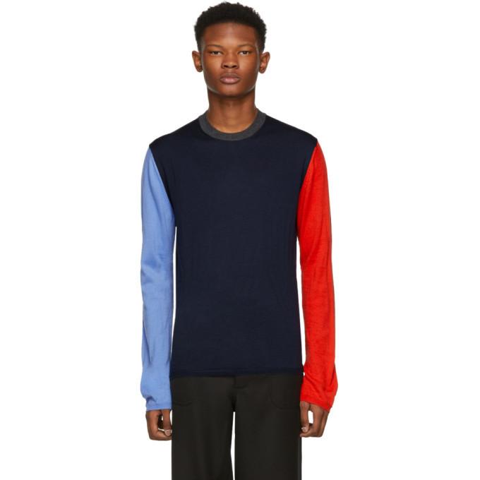 Photo: Comme des Garcons Shirt Navy Color Mix Crewneck Sweater