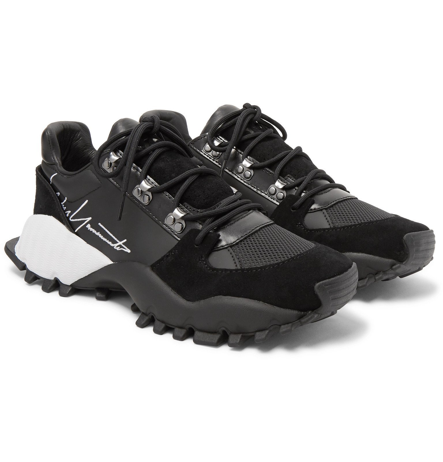 Photo: Y-3 - Kyoi Trail Leather, Suede and Mesh Sneakers - Black