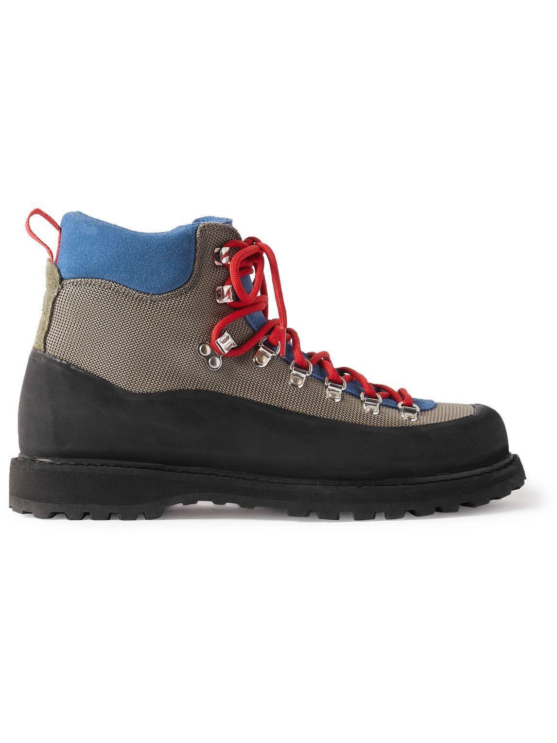 Photo: Diemme - Roccia Vet Rubber-Trimmed Suede and Canvas Boots - Gray