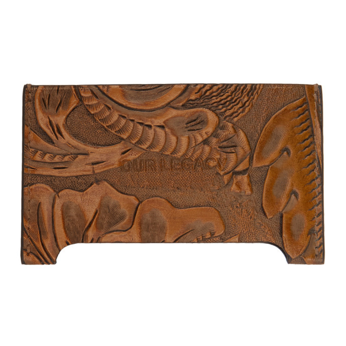Photo: Our Legacy Brown Engraved Flowers Distorted Card Holder