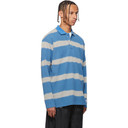 NAPA by Martine Rose Blue and Grey Striped E-Lion Long Sleeve Polo