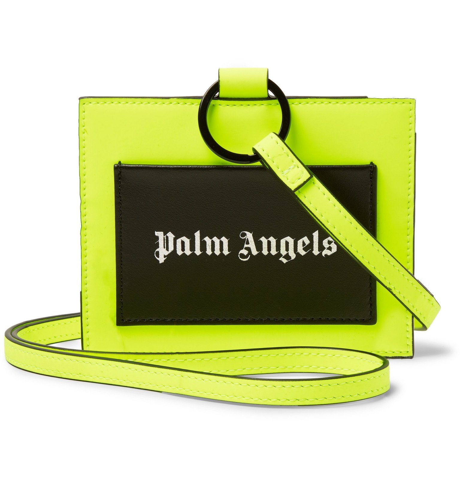 Photo: Palm Angels - Iconic Leather-Trimmed Neon PU Cardholder - Yellow