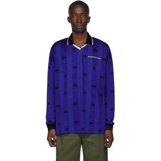 Photo: Alexander Wang Blue Jacquard Oversized Athletic Long Sleeve Polo