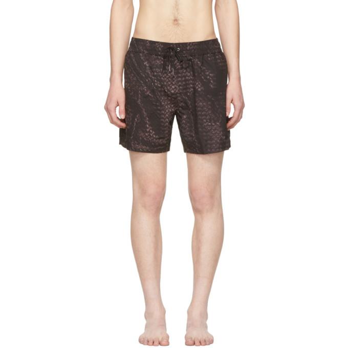 Photo: Bottega Veneta Black Intrecciato Swim Shorts