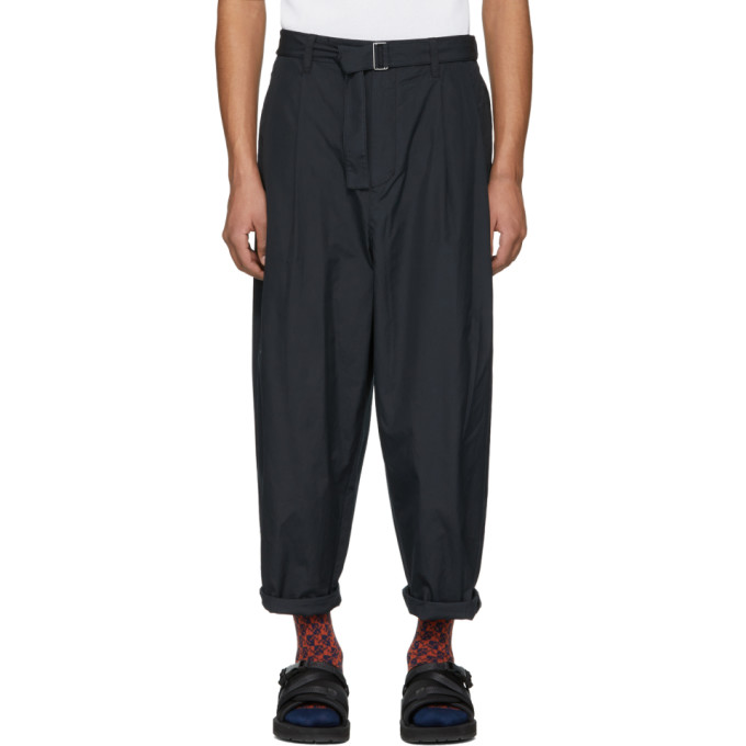 3.1 Phillip Lim Navy Relaxed Pleated Belt Trousers