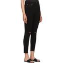 Re/Done Black Originals Knee Slit High-Rise Ankle Crop Jeans