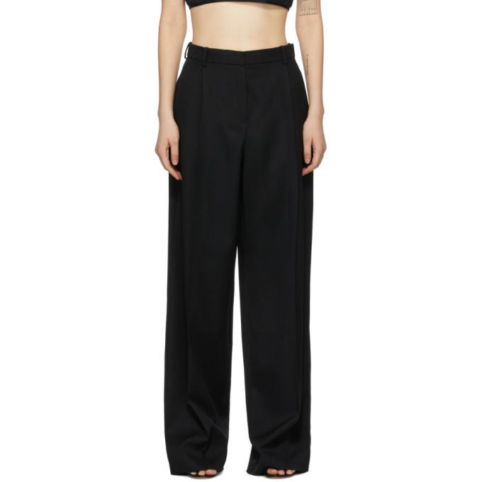 Nina Ricci Black Wool Baggy Straight-Leg Trousers