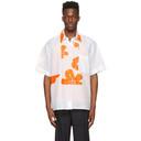 Botter White and Orange Cotton Grandpa Floral Shirt