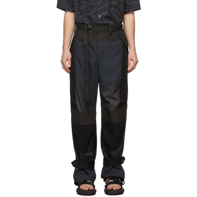 Sacai Black Fabric Combo Pants