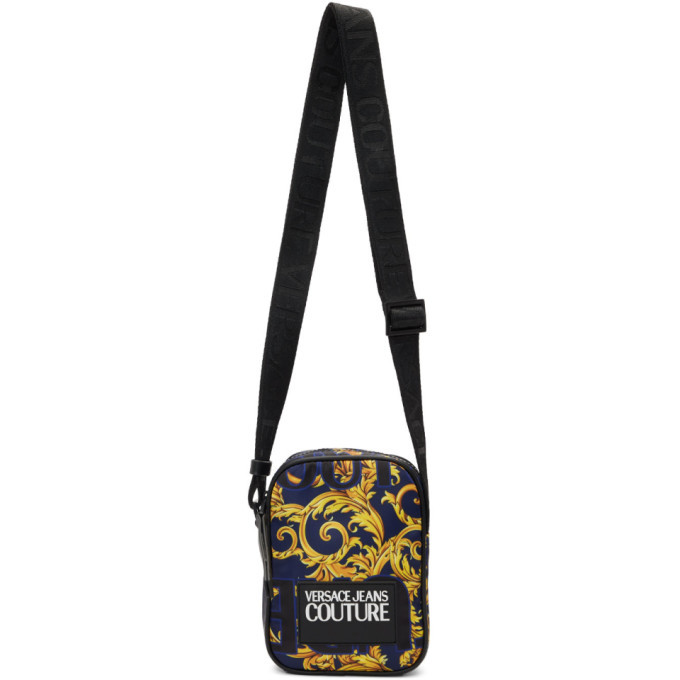 Photo: Versace Jeans Couture Blue and Yellow Barocco Messenger Bag