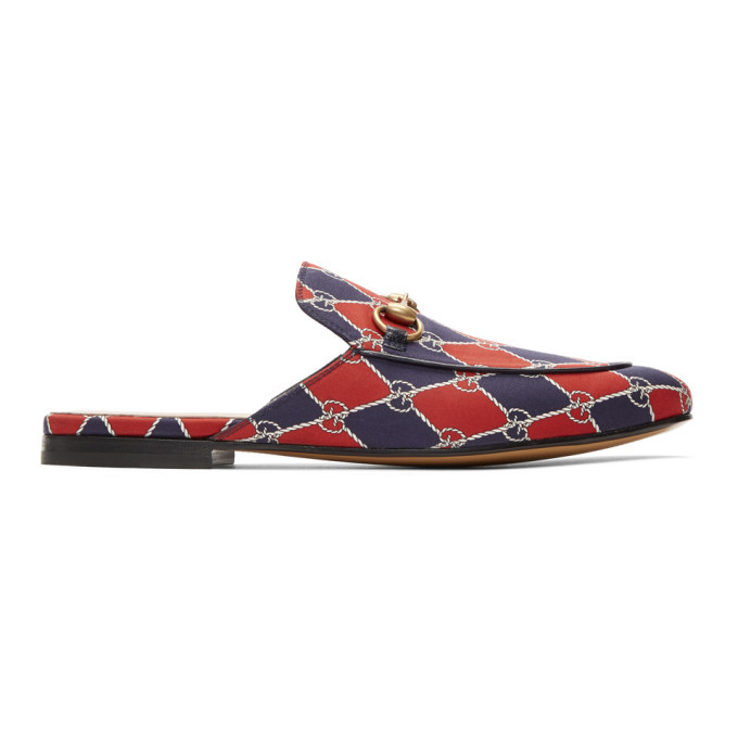 Photo: Gucci Navy and Red Kings GG Slippers