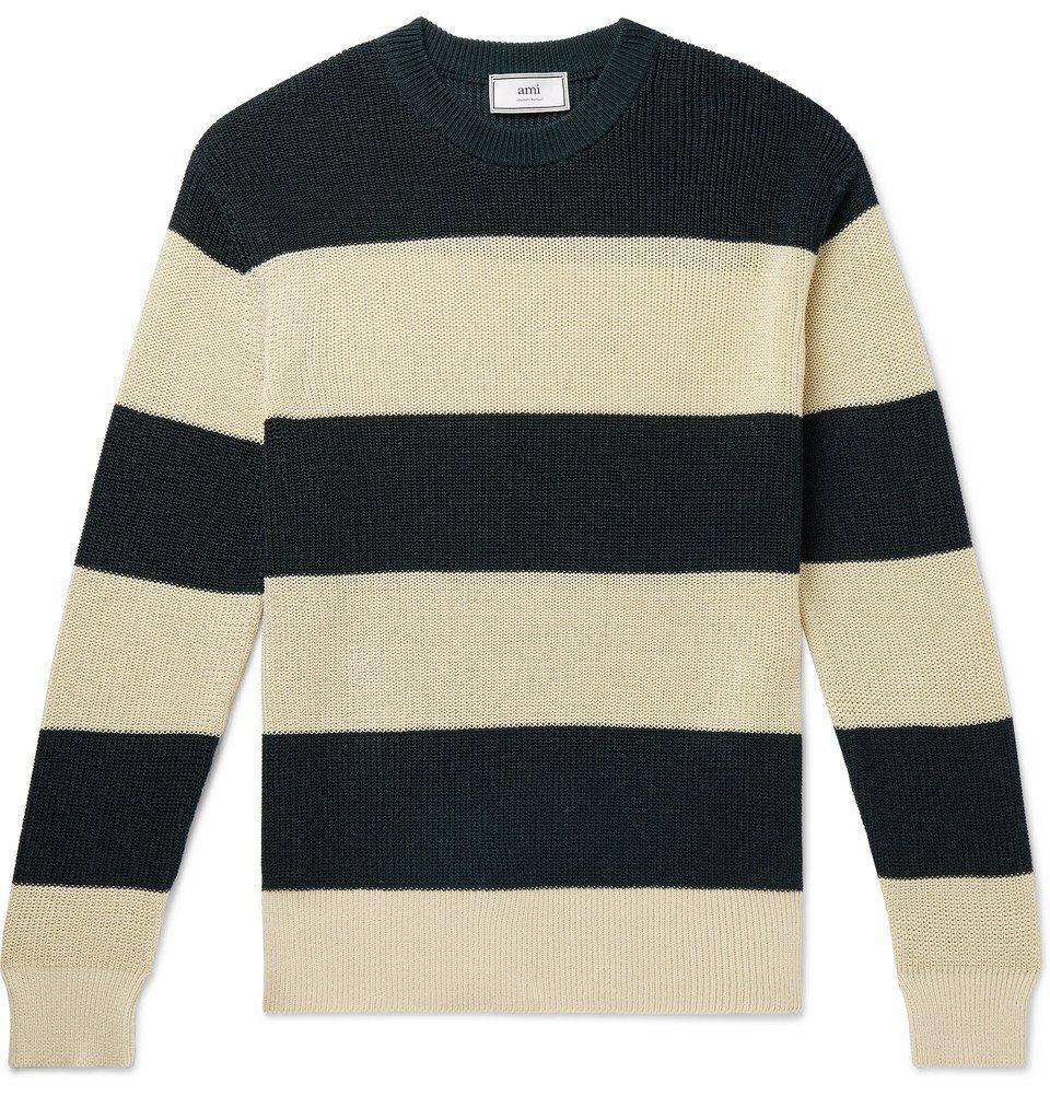 Photo: AMI - Striped Cotton Sweater - Green