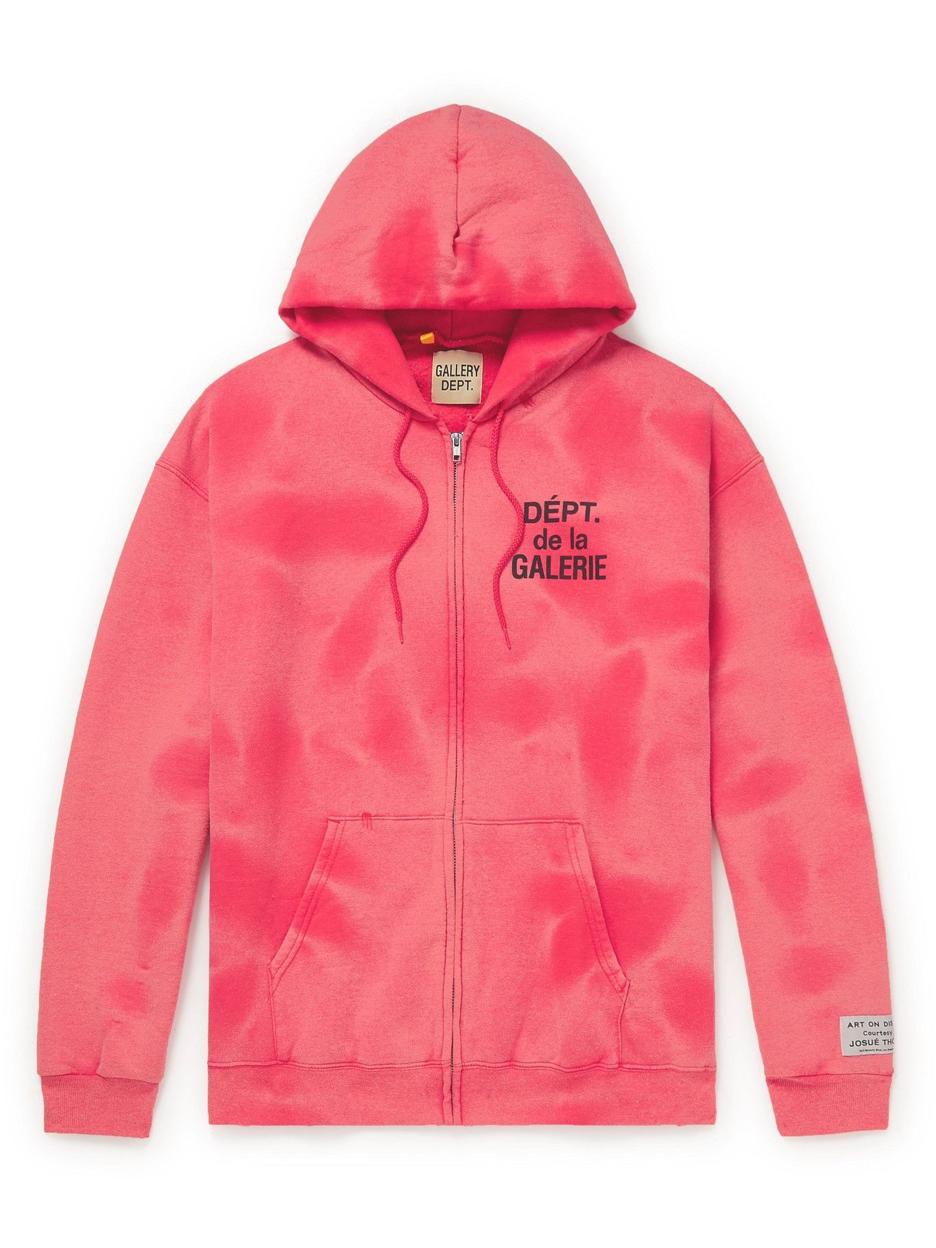 Photo: Gallery Dept. - Logo-Print Tie-Dyed Cotton-Jersey Zip-Up Hoodie - Red