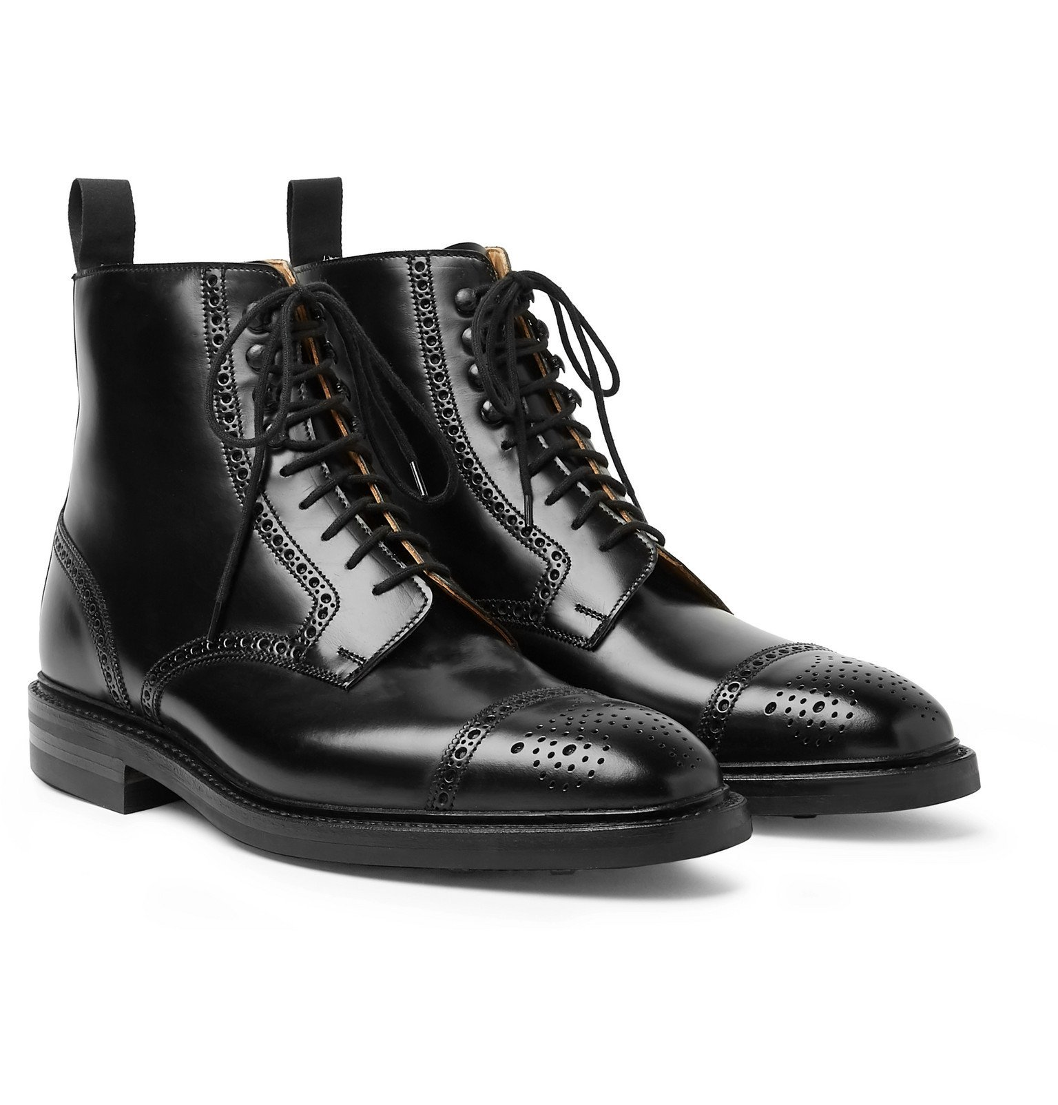Photo: George Cleverley - Toby Polished-Leather Brogue Boots - Black