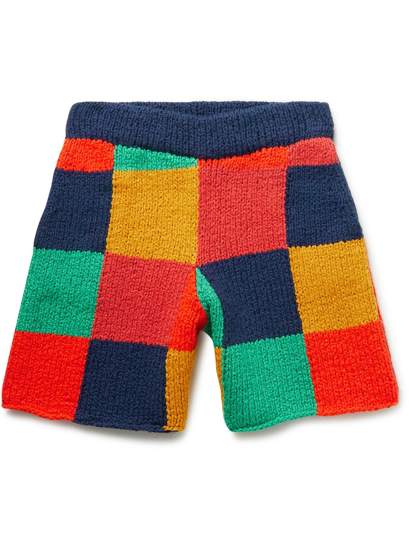Photo: THE ELDER STATESMAN - Colour-Block Knitted Organic Cotton Shorts - Multi - XS/S