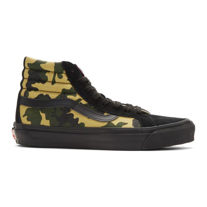 Photo: Vans Black and Green Camo OG SK8-Hi Lx High-Top Sneakers