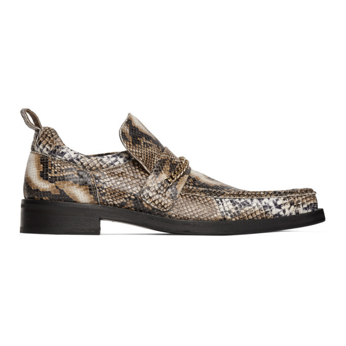 Photo: Martine Rose Brown Snake Square Toe Boot Loafers