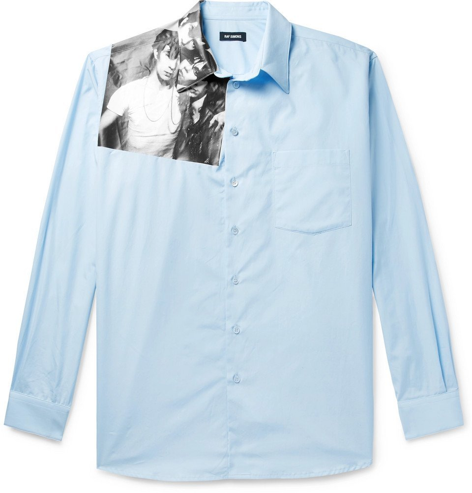 Photo: Raf Simons - Printed Cotton-Poplin Shirt - Light blue