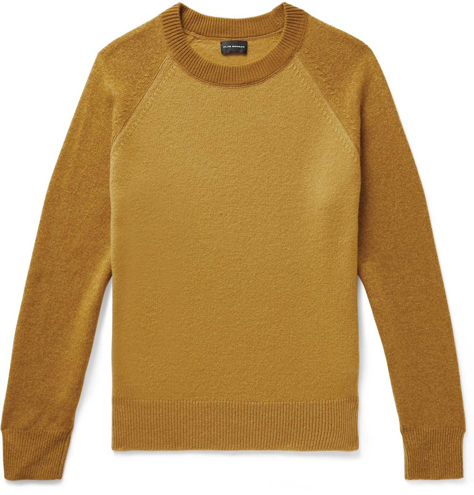 Photo: Club Monaco - Garment-Dyed Colour-Block Wool Sweater - Yellow