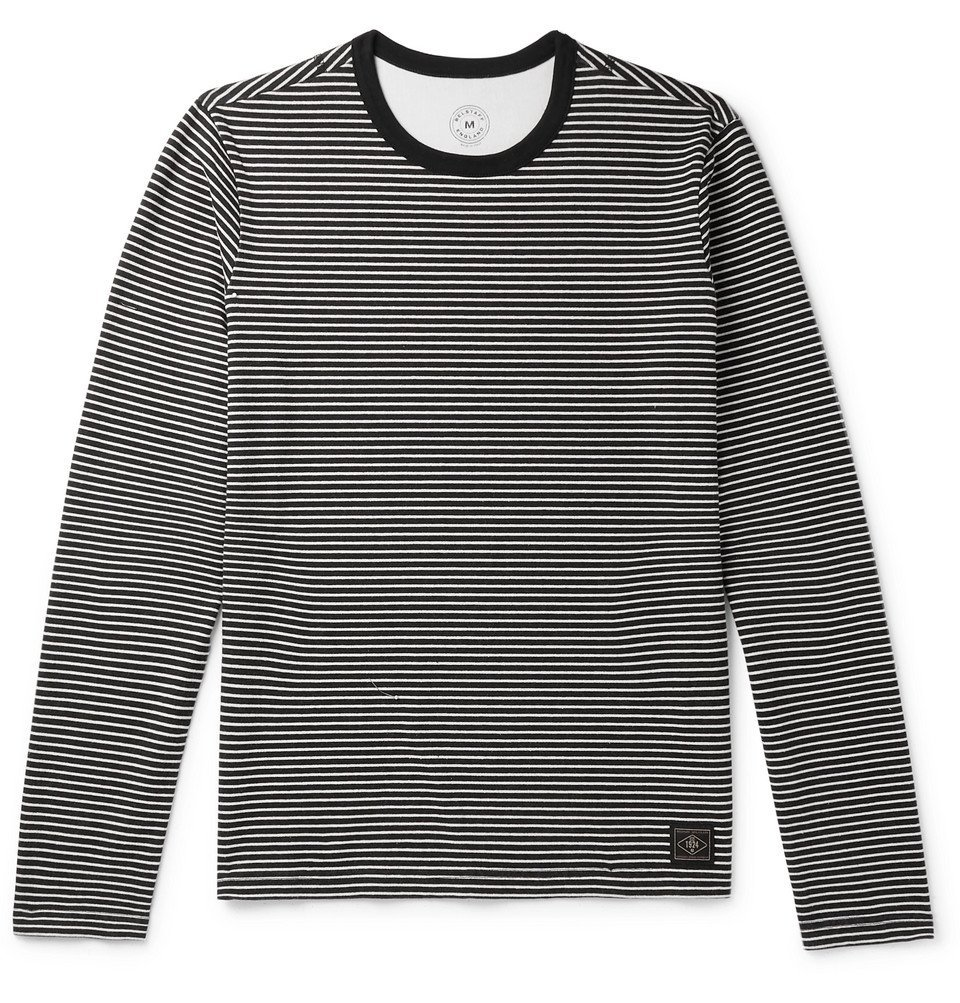 Photo: Belstaff - Gurnard Striped Brushed-Cotton Jersey T-Shirt - Black